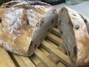 50代女性が焼いた 酒粕入りのナッツとレーズン入りのパン