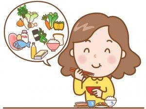 バランスのとれた食事をする女性の絵