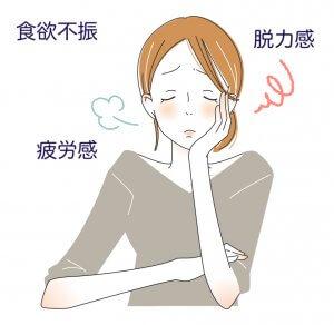 疲労感を感じている女性の絵