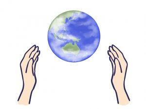 人間と地球のイメージ