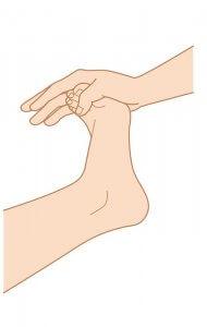 足のマッサージ 足をそらすイメージ